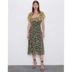 NWT Zara Floral Midi Yellow Black Ruffle Dress